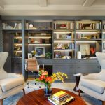 wall units with desk table chairs carpet curtain shelves books flowers decorative plants transitional home office