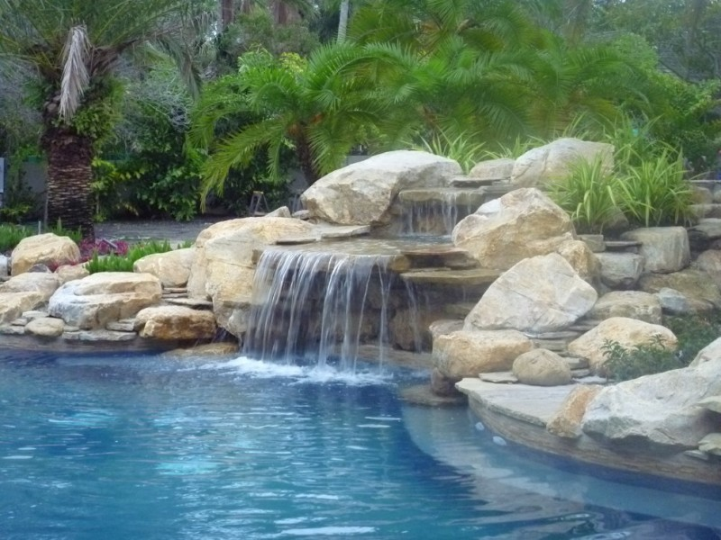waterfalls for pools cafe effect big stones waterfall border multiple level waterfall natural rock boulders pool garden