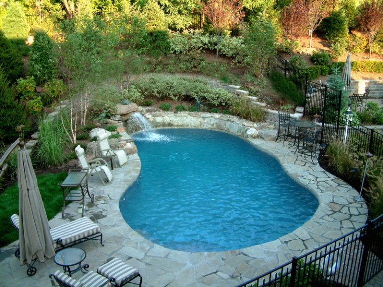 Waterfalls For Pools Iron Fence Pool Chairs And Glass Table Curved Swimming Small Waterfall