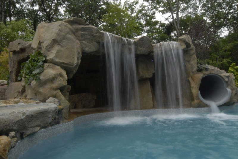 waterfalls for pools slide and big waterfall stone design flintstone feel pool slide for kids spacious cave gray pool tiles