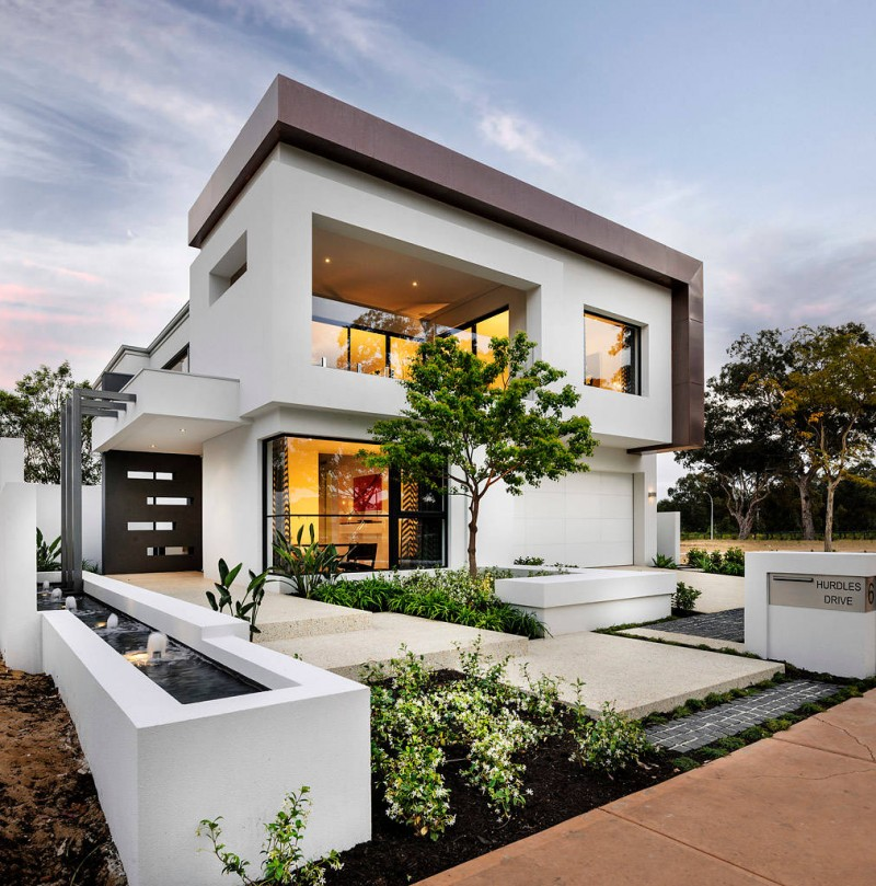 Modern Exterior Of Home With Pathway Transom Window: Stunning Modern White House Ideas That People Look For