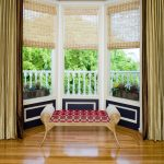 window treatment ideas for bay windows bristol bench almost black paint bright wooden floor gold green curtain roman window shades white wooden fence