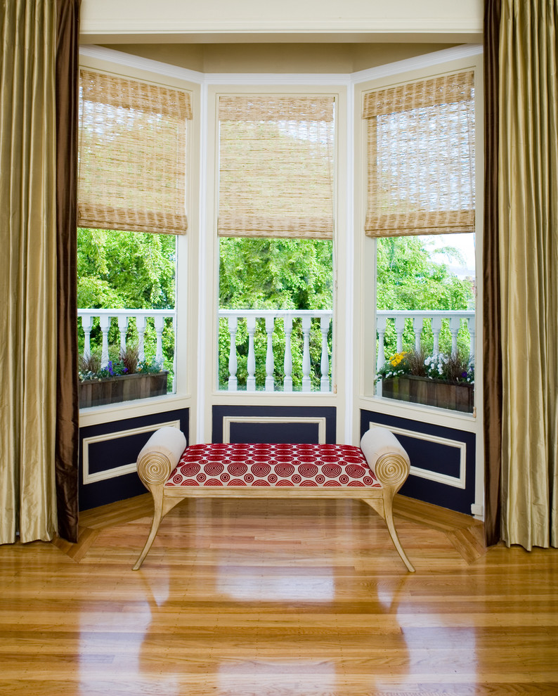window treatment ideas for bay windows bristol bench almost black paint  bright wooden floor gold green