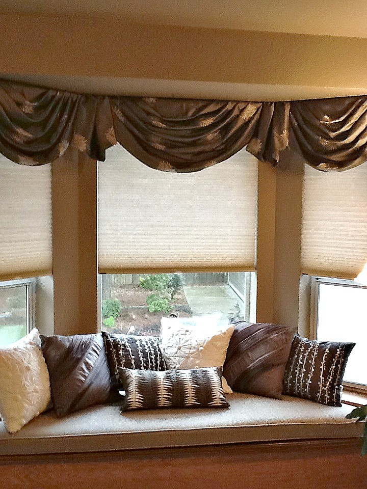 window treatment ideas for bay windows swag drapes window shades window bench brown and white pillow cream cushion