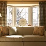 Window Treatment Ideas For Bay Windows Tan Quenilda Ticking Pillow Cream Couch Straight Curtain Rod Antique Standing Lamp