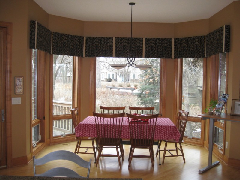 Window Treatment Ideas For Bay Windows Willow Privacy Film Patterned Valances Traditional Dining Table Set