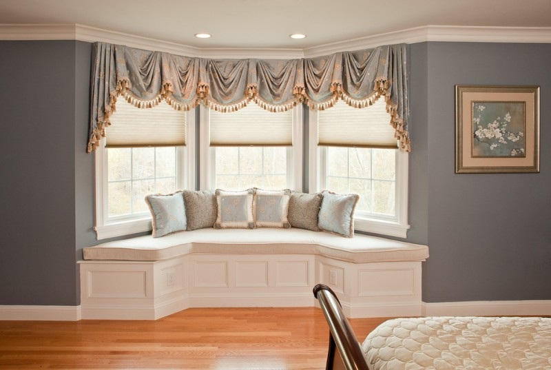 window treatment ideas for bay windows window seat beautiful gray patterned valances white cushion wood floor bedroom seating
