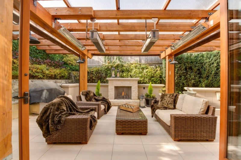 Wood Pergola Idea With Outdoor Lighting Fixtures Patio Heater A Set Of  Rattan Made Furniture With