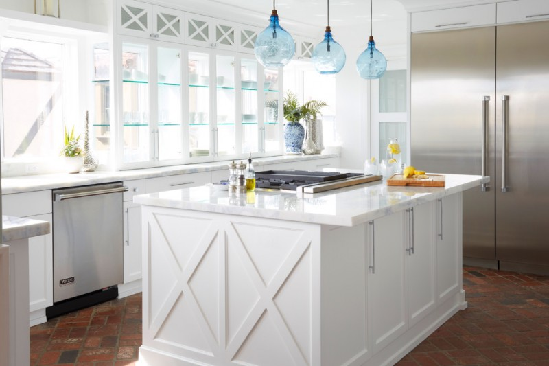 Coastal Kitchen Photo With Recessed Panel Cabinets, White Cabinets, Glass  Cabinets, Stainless Steel
