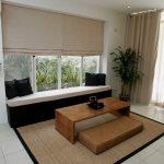Japanese Mat Hardwood Table Mattress Bench Under Windows Window Shutters Window Drapery White Ceramic Tiles Floors