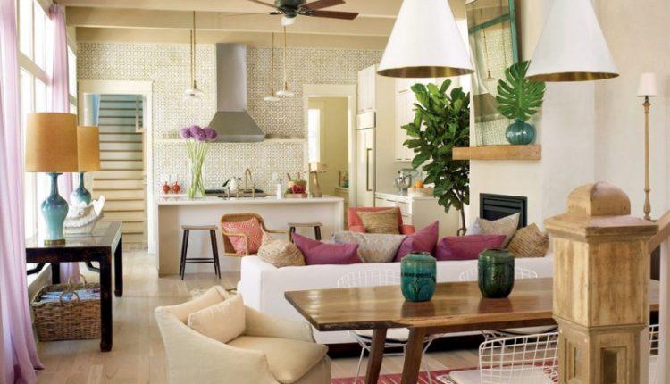 Pendant lights table lamps light toned wooden floor fan wooden table white sofa multi color pillow throws accent tiles backspalsh