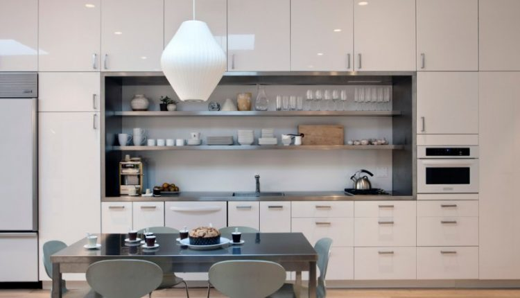 all in one kitchen units nelson pendant lamp fritz hansen ant dining chairs hardwood floor porcelain backsplash