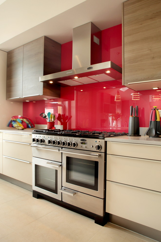 all in one kitchen units red and wood kitchen accents built in microwave and oven lots of burners stainless steel wall hood minimalist cabinet