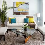 Apartment Living Room Ideas Eileen Gray Side Table Noguchi Table Square Linen Throw Pillow Gaige Oak Armless Chairs Soft Rug White Sofa Art Wall Decor