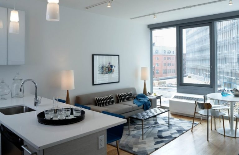 Apartment Living Room Ideas Style Ceiling Light Glass Window Blue And Grey Unique Table