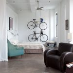 Bike Storage Apartment Tolomeo Led Wall Lamp Industrial Blade Indoor Ceiling Lamp Nice Cowhide Rug Brown Armchair Blue Armchair Bed Window