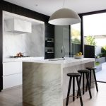 Black And White Kitchen Black Modern Stool Hidden Range Hood Dome Pendant Carara Marble Kitchen Island Minimalist Kitchen Cabinet