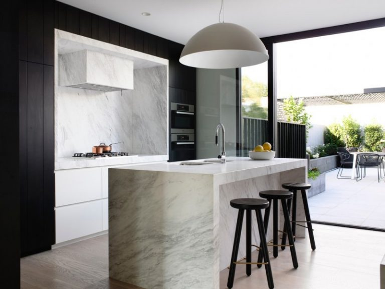 Black And White Kitchen Black Modern Stool Hidden Range Hood Dome Pendant  Carara Marble Kitchen Island