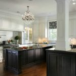 Black And White Kitchen White Kitchen Cabinet Black Kitchen Island Wood Flooring Chandelier Large Kitchen Window With Valance