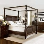Classic Bed Frame With Dark Finishing Wooden Dresser In Dark Finishing White Bedroom Rug Clean White Walls Clean White Ceilings