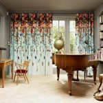 Colorful Flower Blooms On Blue Curtain
