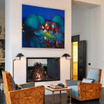 Colorful Handmade Painting Two Sided Fireplace Wood Colored Chairs Wooden Center Table Dark Hardwood Floors