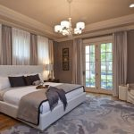 Contemporary Bedroom Idea Modern Bed Frame With White Headboard Cream Draperies With White Lice Inner Draperies Grey Area Rug With Floral Motifs Modern Pendant Lamp