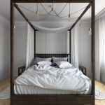 Dark Toned Wood Bed Frame With Canopy And Ball Light Fixtures White Bedding Pale Toned Wood Floors White Walls