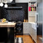 good colors to paint a kitchen beautiful floor cool lighting black backsplash books shelf fridge knives transitional room