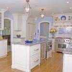 good colors to paint a kitchen beautiful floor island light blue walls glass front cabinet blue items ceiling lights chandeliers flowers traditional room