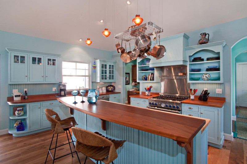 good colors to paint a kitchen beautiful floor wall cabinets backsplash island shelves window cool lamps chairs stove light blue walls tropical room