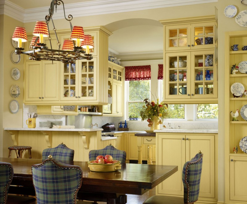good colors to paint a kitchen plates chairs table flowers cool chandelier yellow cabinets shelves window traditional room