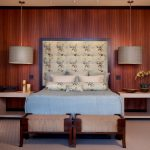 Hanging Lights For Bedroom Sidetables Bed Wood Walls Headboard Ottomans Pillows Beige Floors Contemporary Design