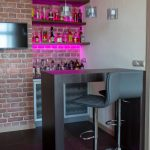 Home Bar Setup Hot Pink Lights Teak Glass Rubbed Bronze Watercube Glass Mini Pendant Lights Minimalist Home Bar Comfy Barstools Small Table Floating Shelves