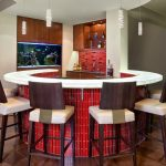 Home Bar Setup Modern Kitchen Sink Faucet Stanless Steel Pull Out Round Bar Cushioned Barstools Aquarium Red Tiles Wooden And Glass Cabinet