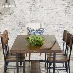 Industrial Dining Room Idea Industrial Dining Furniture Set White Dining Chair With Accent Pillow Decorative Planter Whitewashed Walls Huge Hanging Ball Lamp
