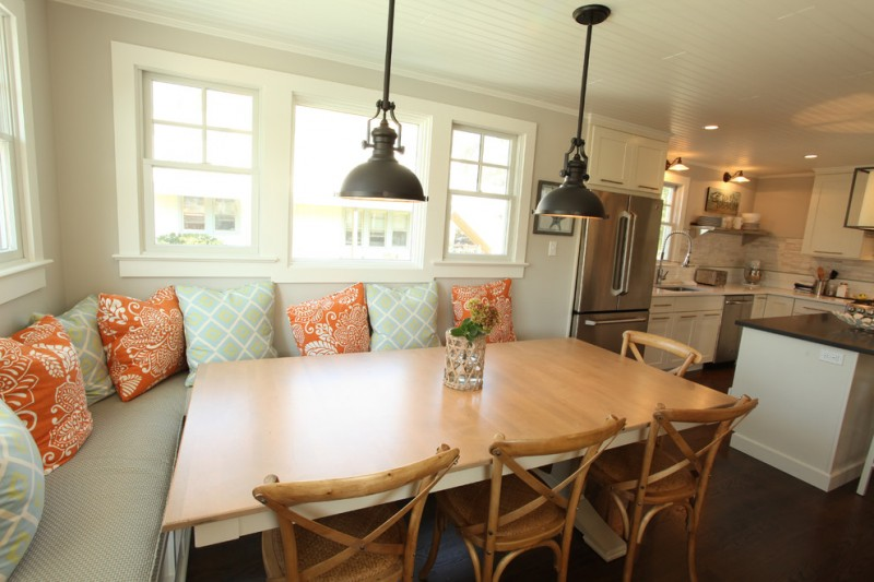 kitchen corner bench seating pillows cool hanging lamps table windows chairs cabinets fridge beach style room