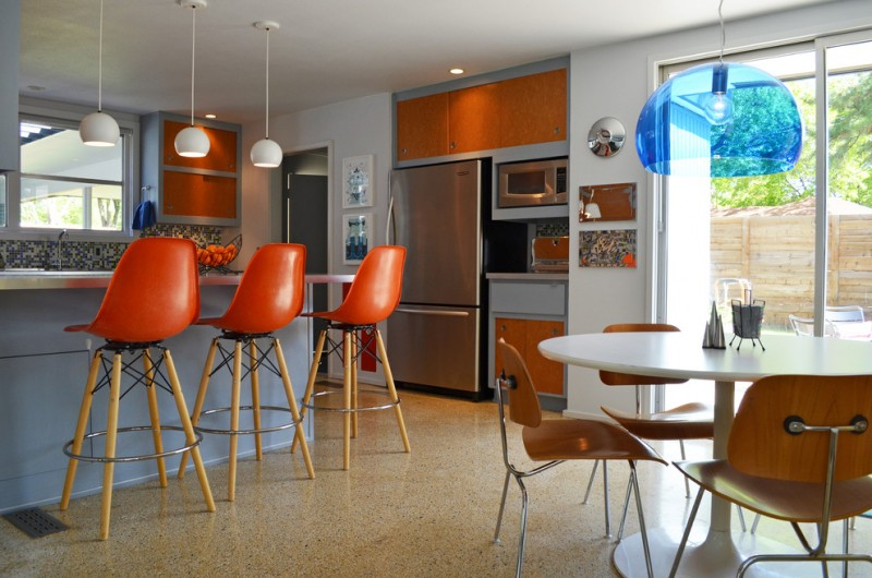 Kitchen With Sleek Orange Bar Stool With Back, Wooden Four Lgs With Support  And Leg
