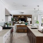 Large Beach Style Galley Kitchen With An Under Mount Sink, Marble Countertops, Multicolored Backsplash, Stainless Steel Appliances, An Island, Light Hardwood Floors, Recessed Panel Cabinets, White Cabine