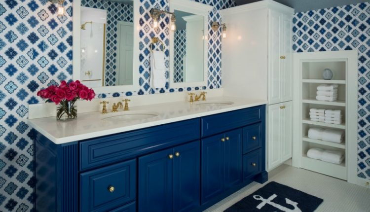 martha stewart vanity alcazar wallpaper antique cooper innovations vintage wall sconce blue vanity elegant mirror towels shelves white large cabinet