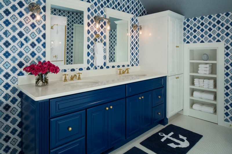 martha stewart vanity alcazar wallpaper antique cooper innovations vintage wall sconce blue vanity elegant mirror towels shelves white large cabinet
