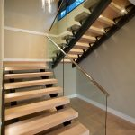 Metal Stair Stringers Glass Pendant Hardwood Floors Staircase Contemporary Design