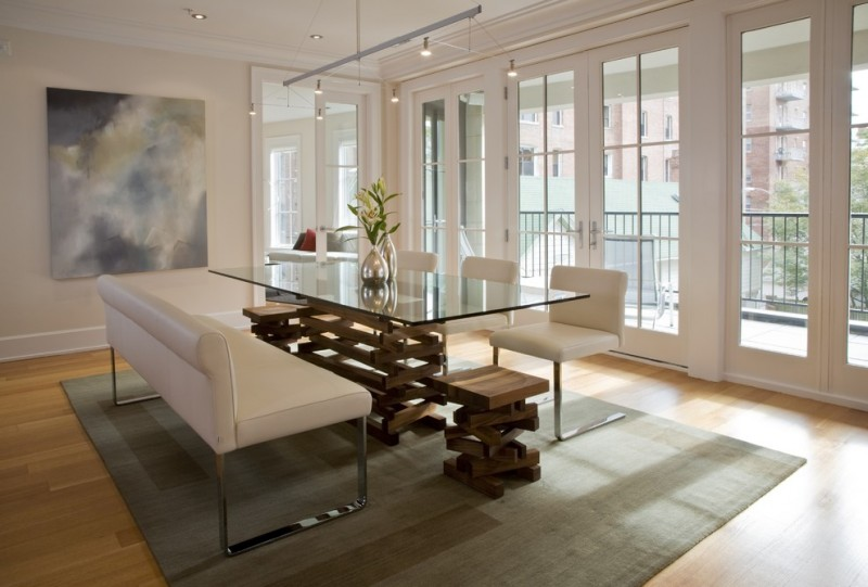 Modern Glass Kitchen Table With White Chairs And Benches With Metal Legs  Cream Rug Light Toned