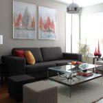 Modern Grey Couch Set Glass Top Coffee Table In Square Shape Fluffy Rug Dark Hardwood Floors Grey Walls