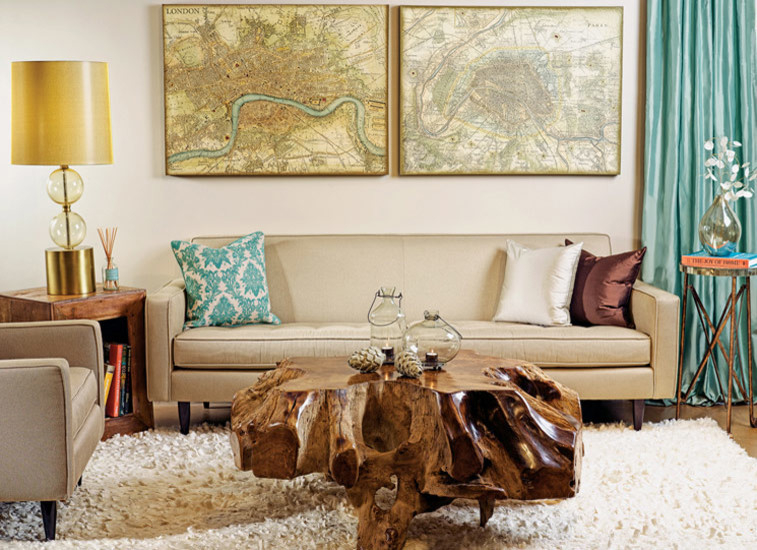 modern living room idea beige couch with accent pillows tree trunk coffee table with clear finishing hardwood side table with under book rack fluffy white area rug golden table lamp