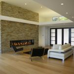 Modern Living Room Ideas Stone Fireplace Surround Montigo Fireplace Barcelona Chair White Modern Sofa Black Table Black Rug Windows