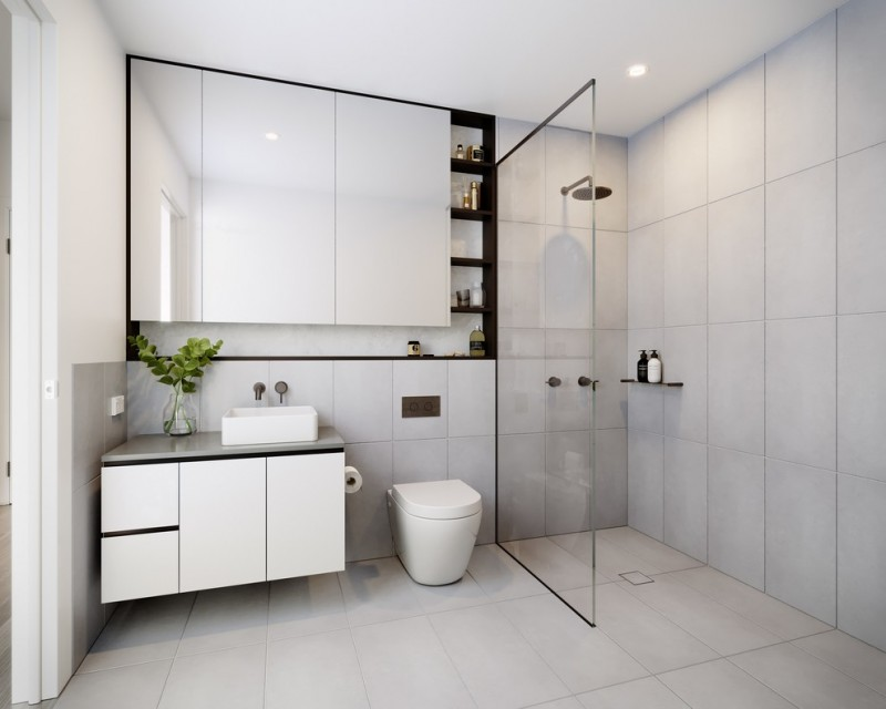 modern open shower idea white laminated vanity with white & square shaped sink white toilet frameless mirror with side shelves white ceramic tiles walls and floors