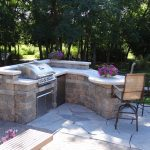 Modern Outdoor Kitchen Idea Custom Stone Counter Bright Stone Countertop Gas Grill Mini Refrigerator Shabby But Cool Chairs