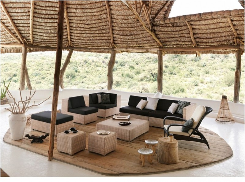 modern patio furniture set in black and light tone a set of wood furniture medium toned wood floors original tree trunk pillars decorative vase