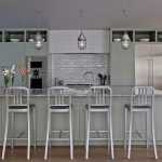 Muted Silver Kitchen With Kitchen Island, Muted Silver Bar Stools Wth Back